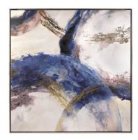 Wholesale Modern Abstract Blue Mix Color Framed Wall Art Paintings